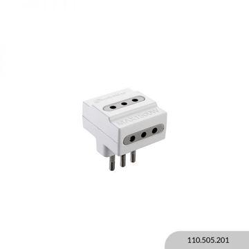 Imagen de Adaptador 3 2P + T blanco 10A ELECTRALINE